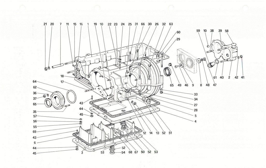 Table 20 - Gearbox - differential housing and oil sump