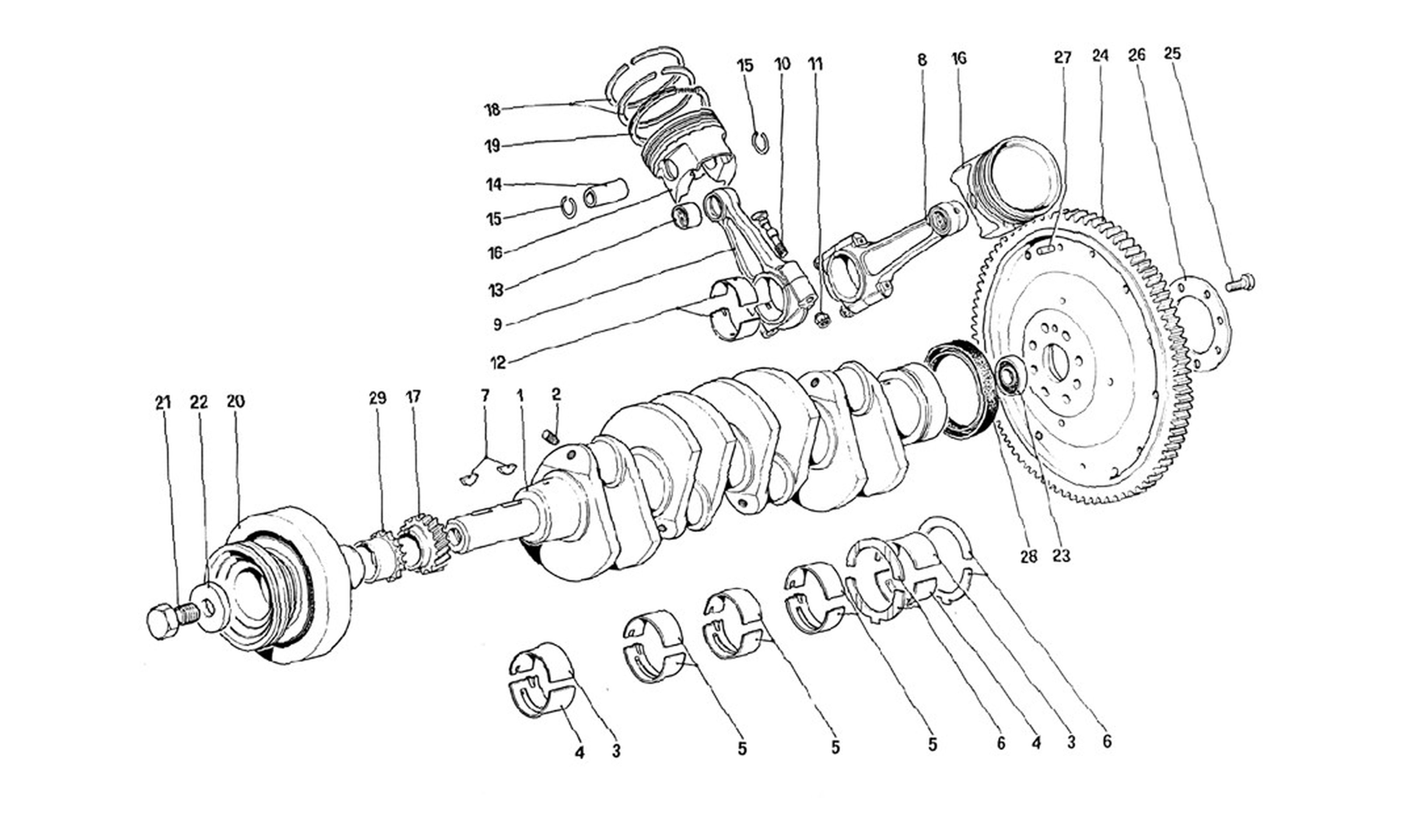Table 2 - Crankshaft - Connecting Rods And Pistons - Flywheel