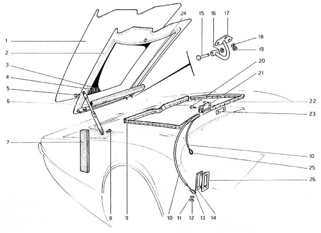 Schematic: Front Compartment Lid (Valid For Rhd - Aus Versions)