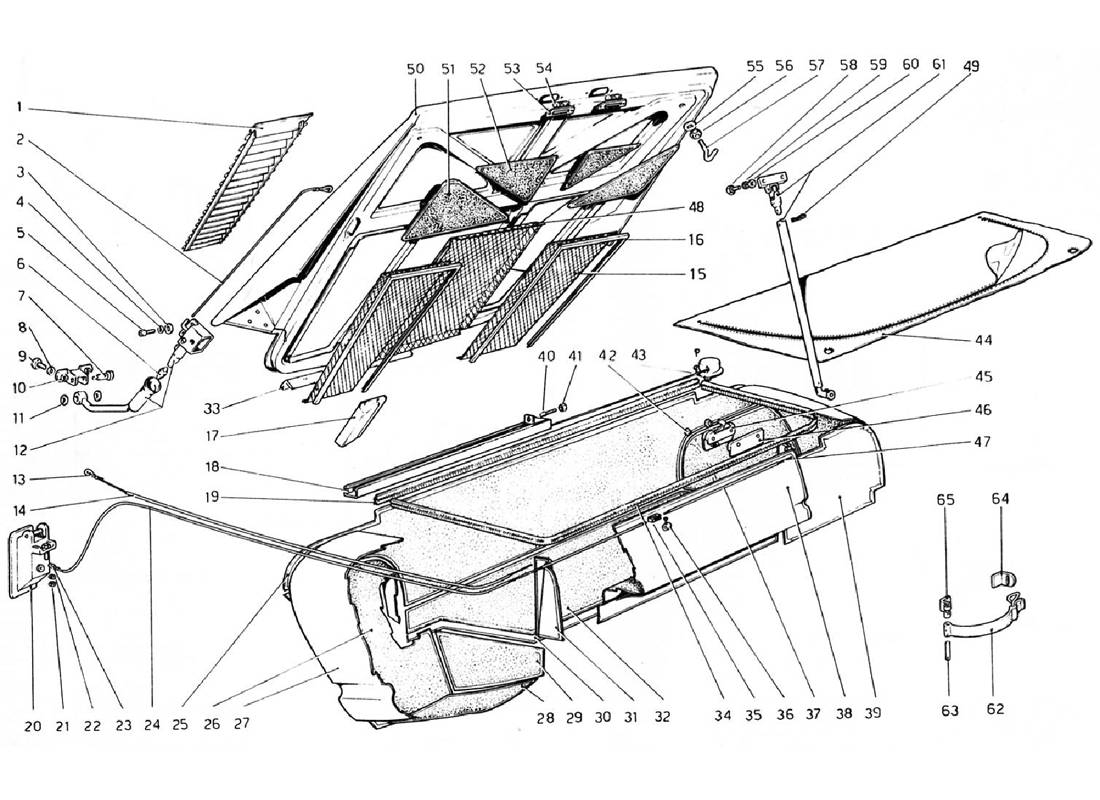 Schematic: Rear Bonnet And Luggage Compartment Covering (Valid For Rhd - Aus Versions)