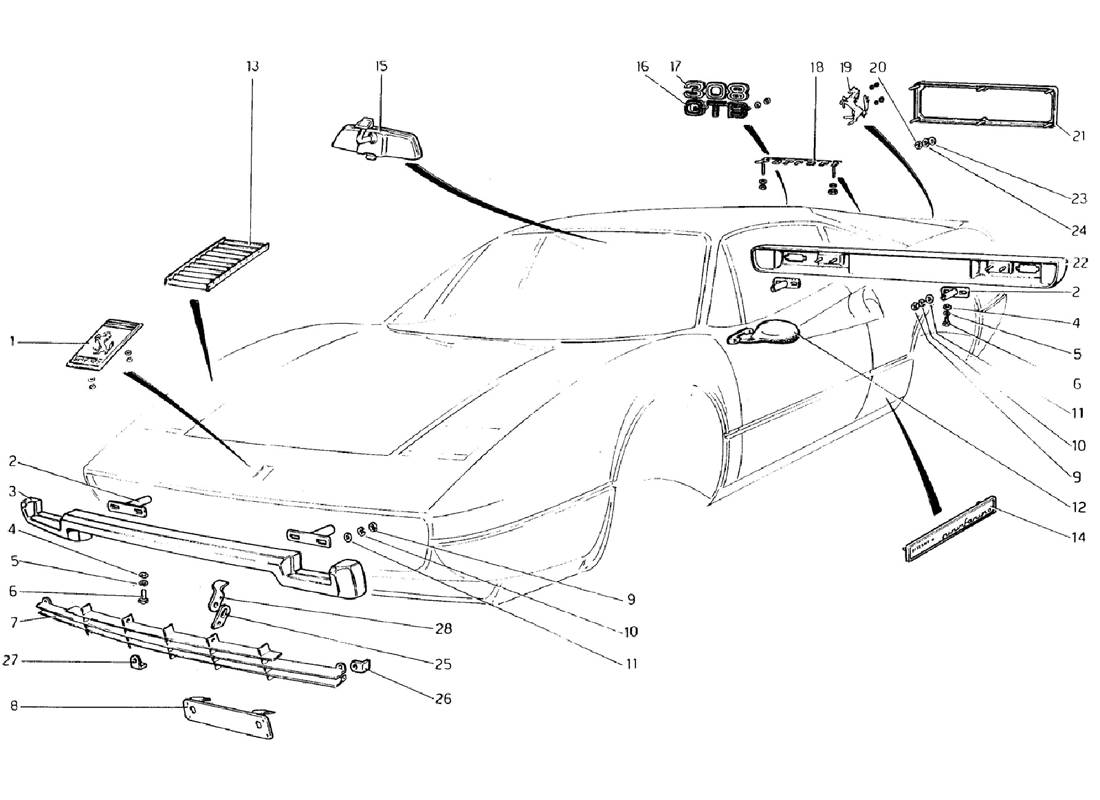 Schematic: Bumpers And Moldings (Valid For Rhd - Aus Versions)