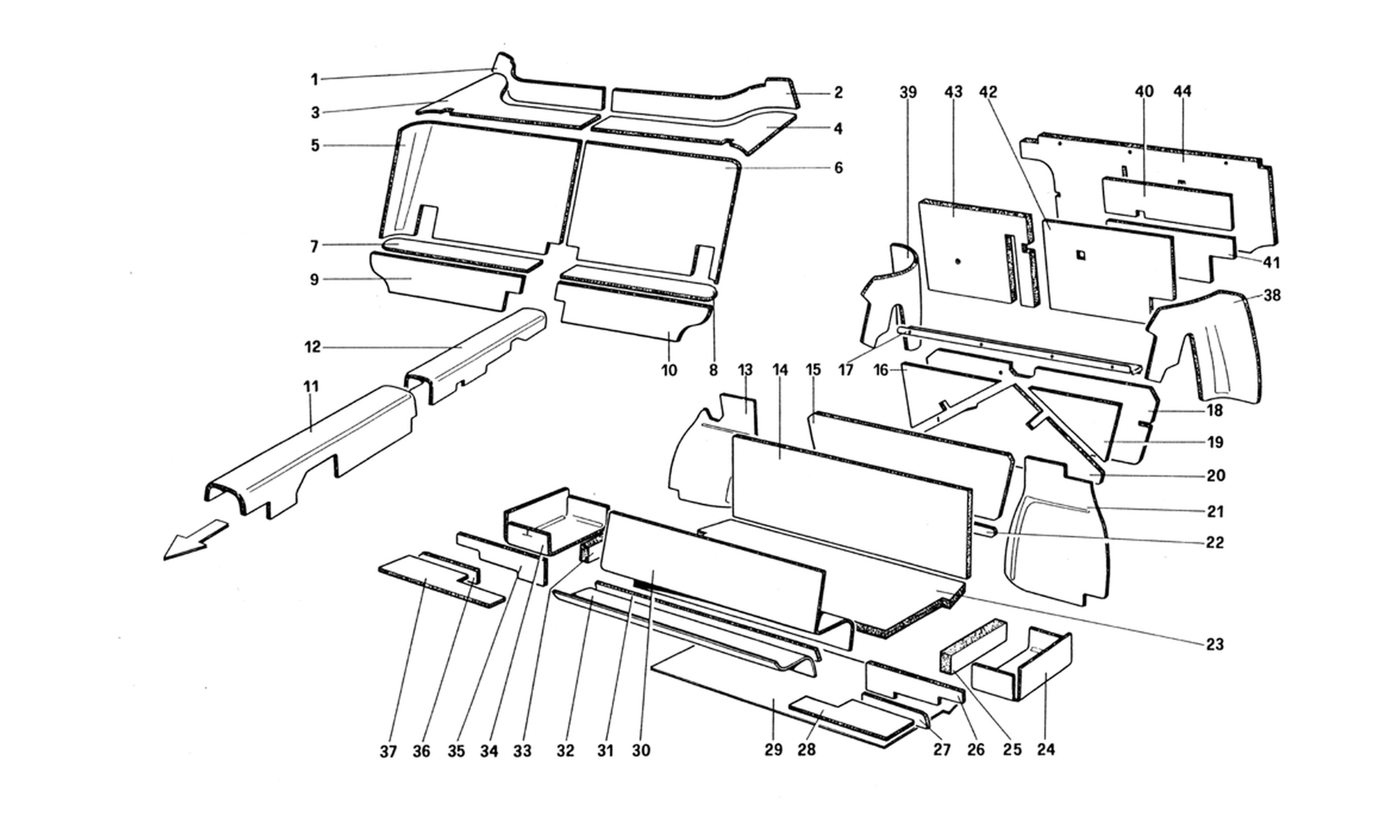 Schematic: Passenger And Luggage Compartments Insulation (Not For U.S. And Sa Version)