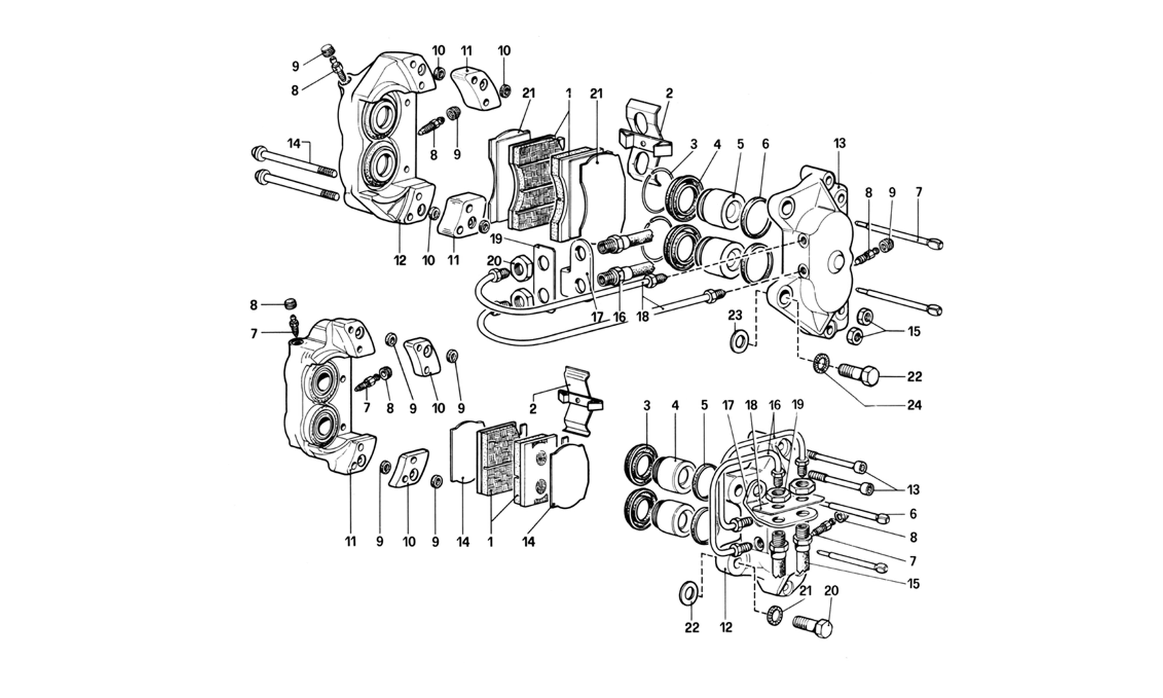 Schematic: Calipers For Front And Rear Brakes