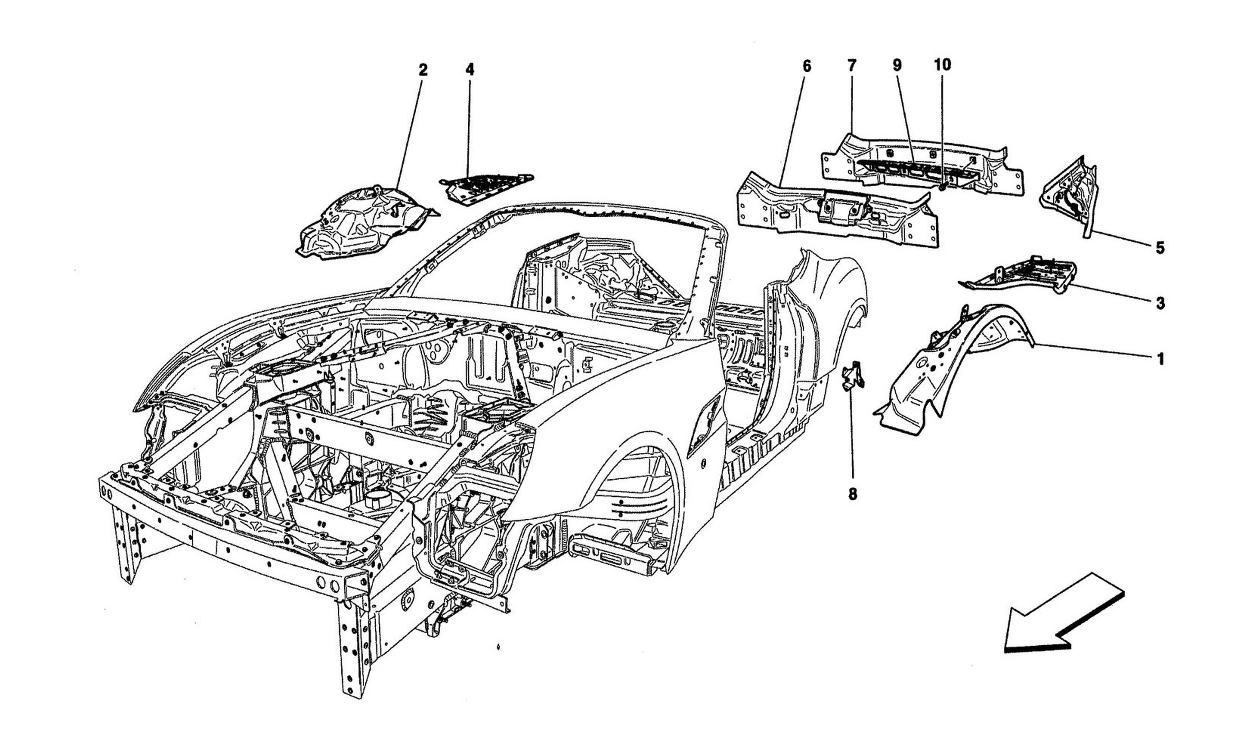 Schematic: Bodywork And Rear Outer Trim Panels