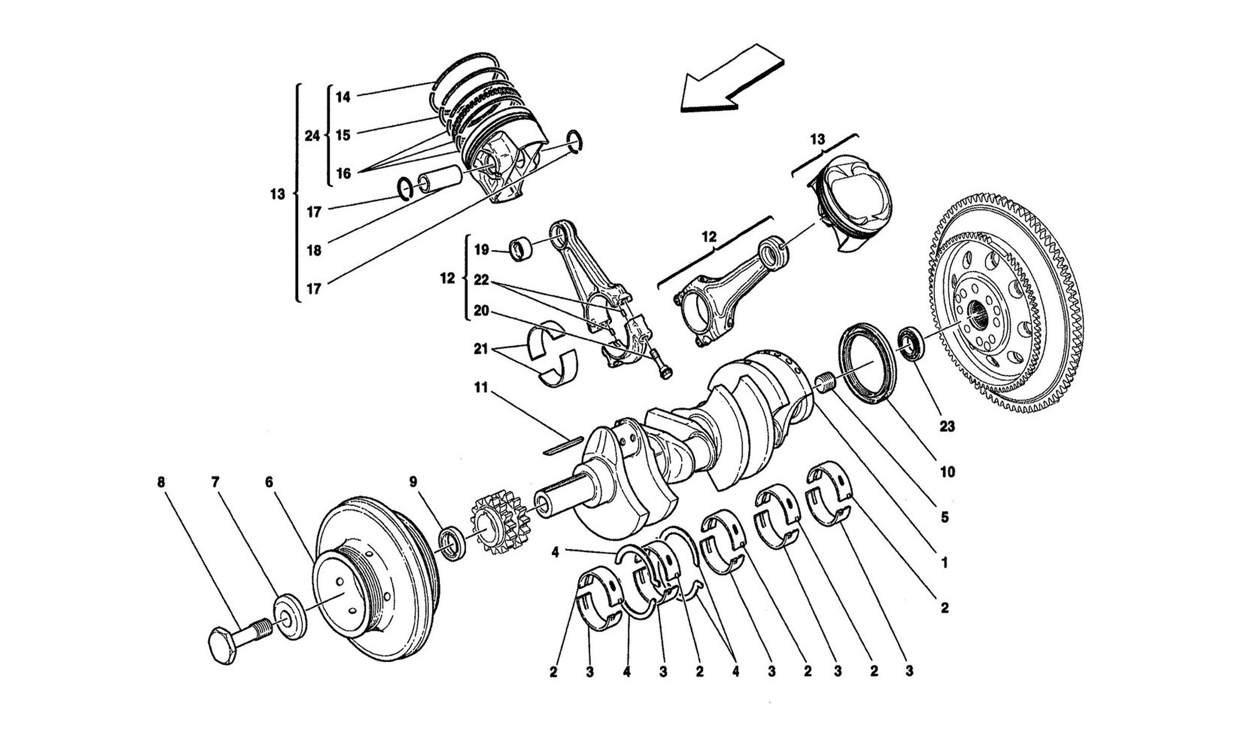 Table 2 - Crankshaft, Connecting Rods And Pistons