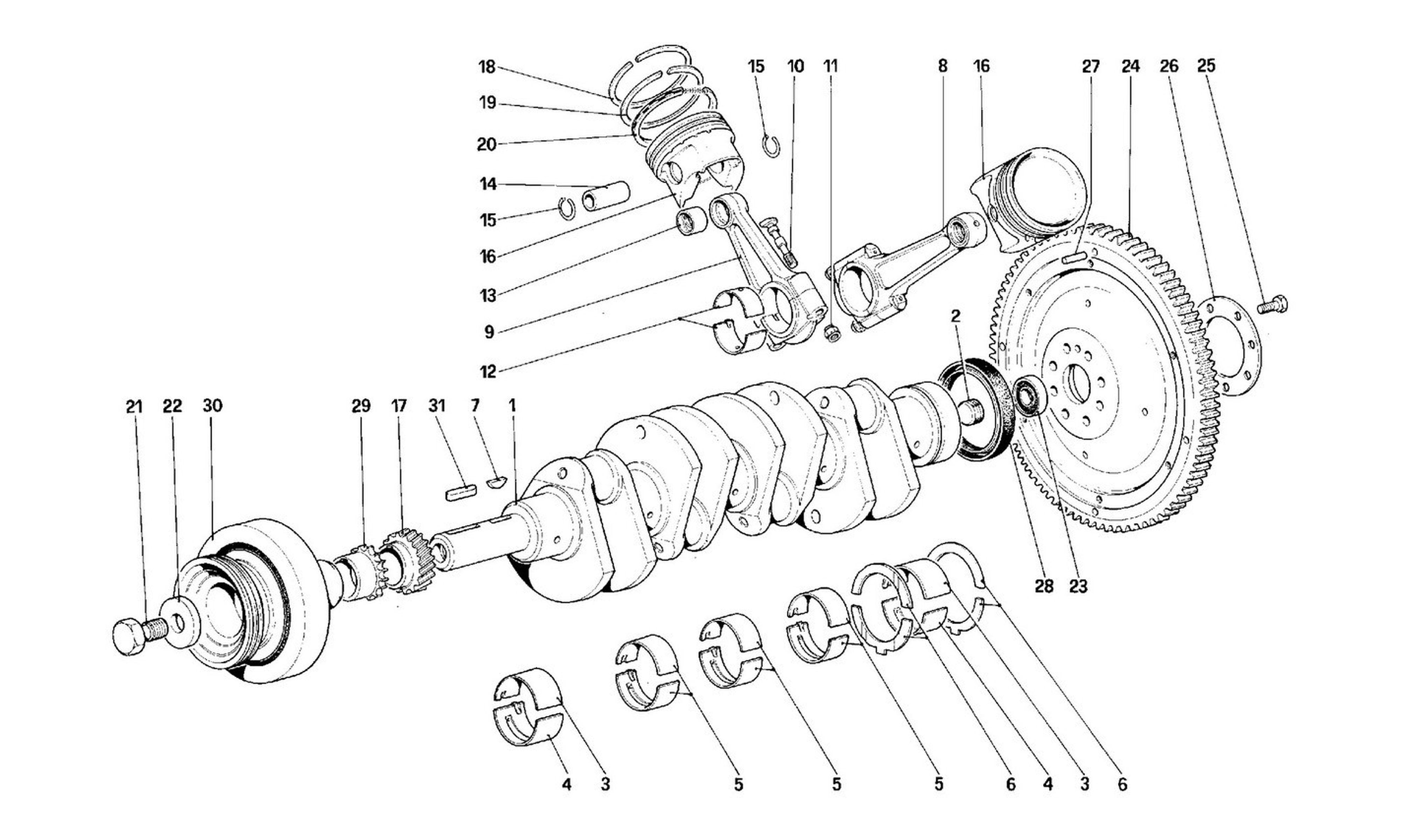 Table 2 - Driving Shaft - Connecting Rods And Pistons - Motor Flywheel