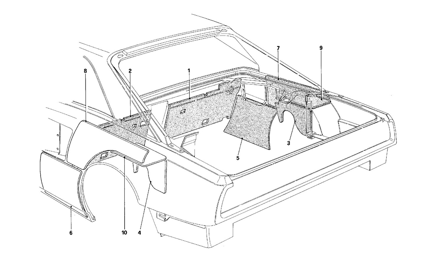 Schematic: Engine Compartment Insulation - Coupe - For Ch Version Cars