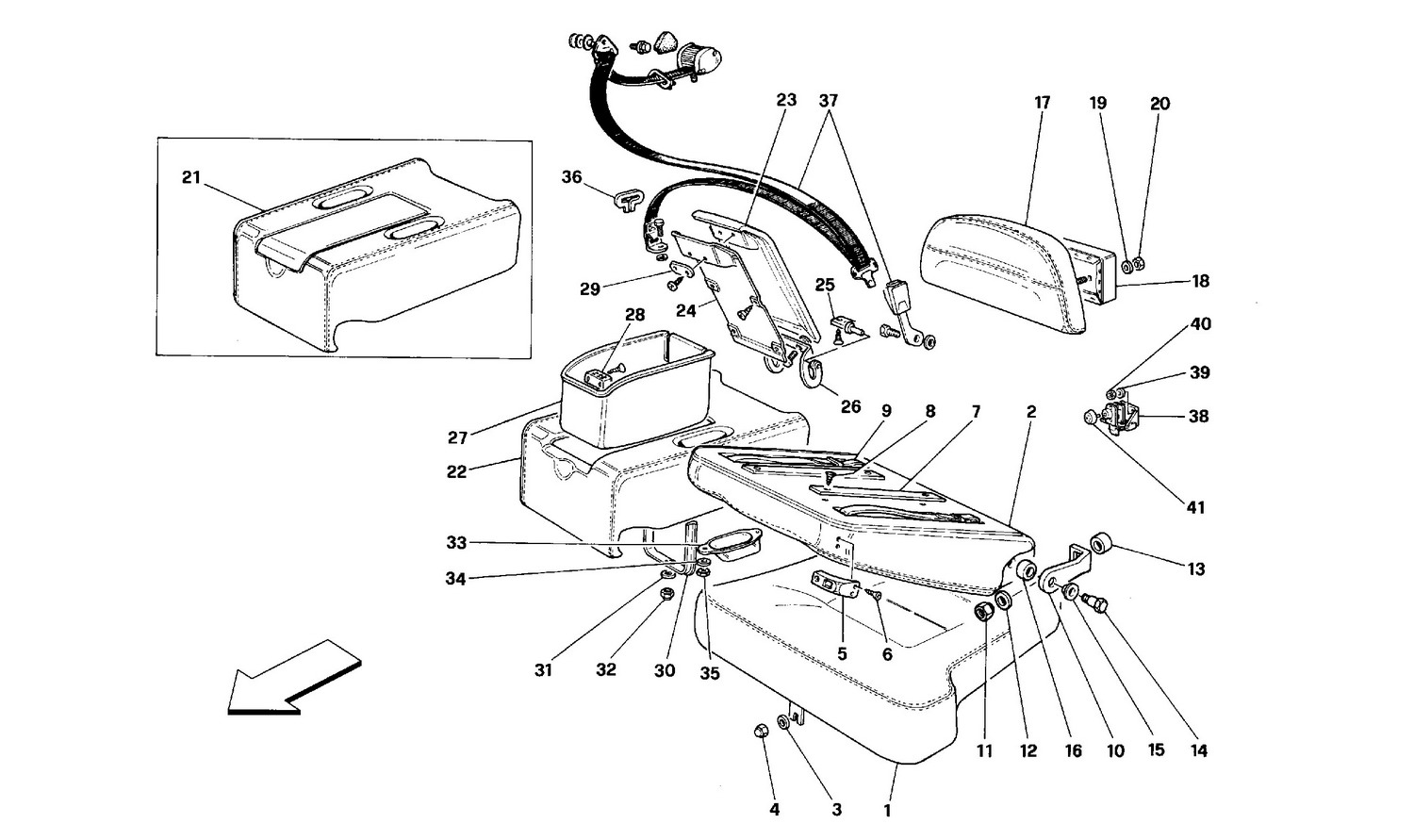 Schematic: Seats And Rear Safety Belts - Coupe -