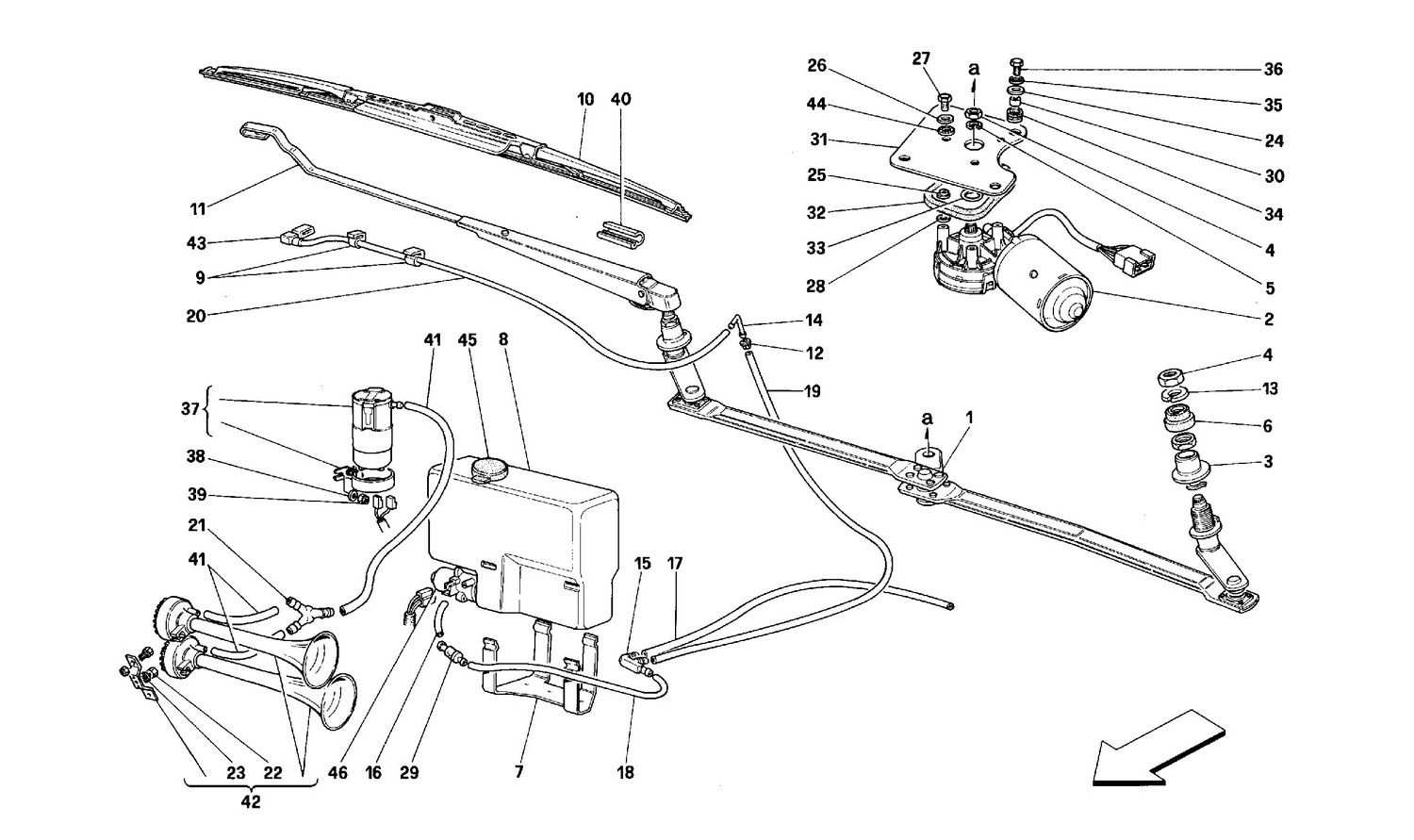 Schematic: Windshield Wiper And Horns